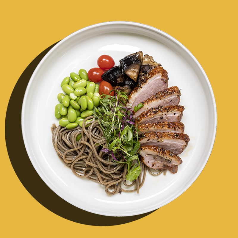 Pepper Crusted Smoked Duck Soba