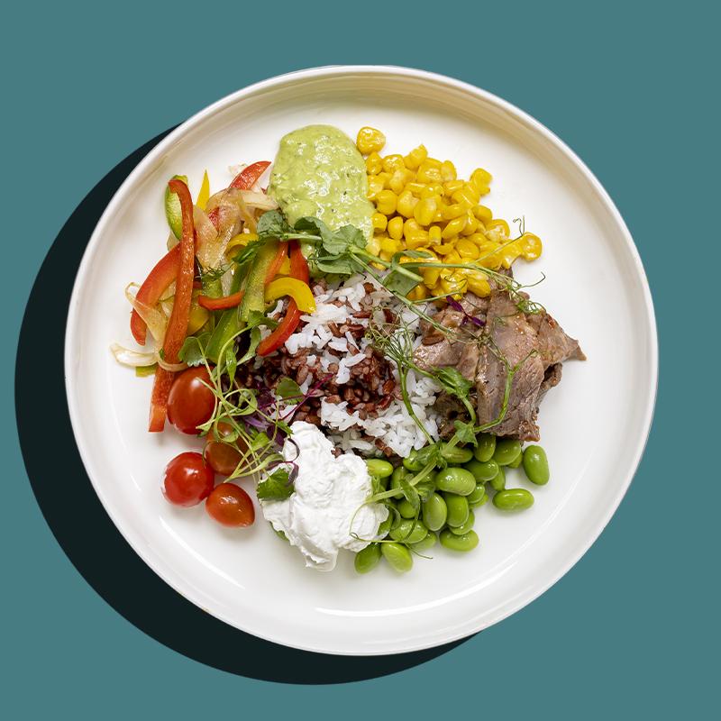 Roasted Beef Fajita Rice Bowl