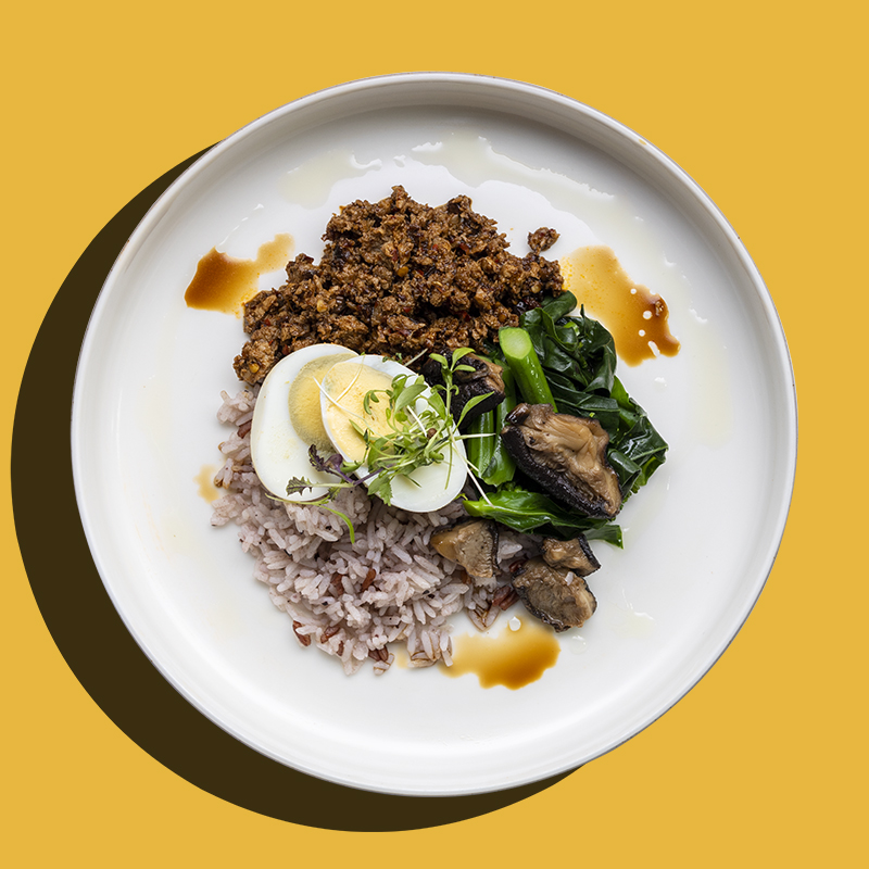 """Thai Basil Khra Prow with """"Impossible Meat"""" and Long Bean (Low-Cal)"""